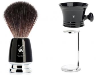 Setangebot Mühle Nassrasierer Gillette® Mach3® kompatibel Edelharz horn mit Seifenschale