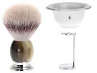 Mühle Set Angebot TRADITIONAL 3-teilig mit Rasierhobel und Rasierpinsel Silvertip Fibre® Halter und Seifenschale